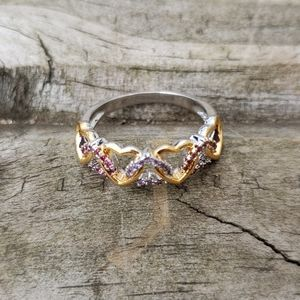 Intertwined Heart Ring with Rhinestones